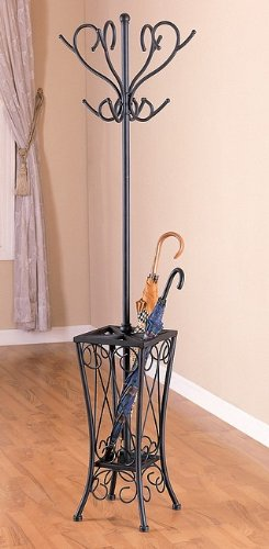 All new item Sandy black metal finish coat rack with umbrella stand