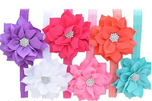 Geoot Baby's Headbands Girl's Headband Head Wear Crystal Flower (6 Pack)