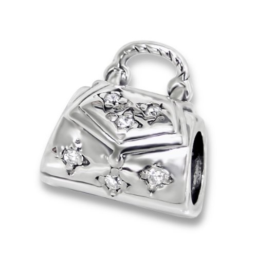 Purse Handbag Charm Bead  Cz Stones 925 Sterling