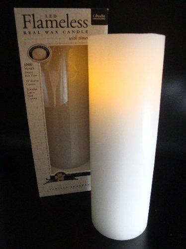 Flammenlose Echtwachskerze WEISS 25 cm mit Vanilleduft