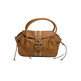 Prada BR2937 Camel Leather Satchel Handbag