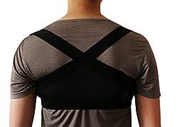 Posture Support Brace Lightweight Corrector for Upper Shoulders Back Clavicle for Men and Women Black Large Stealth Support