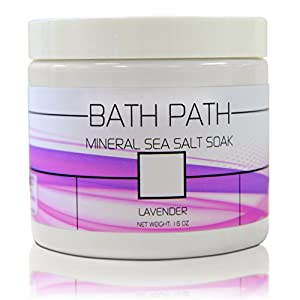 Lavender Bath Salts for Relaxing Muscle Relief, Sleep Enhancement, Therapeutic Skin Softening and Healing Detox - All Natural (Unlike Epsom) Mediterranean & Dead Sea Salt Blend with Magnesium & Minerals - Made in USA - Unconditionally Guaranteed