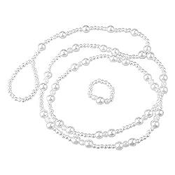 Women Ankle Bracelet Imitation Pearl Barefoot Anklet Chain (White)