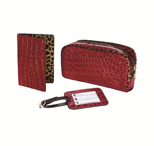 travel-smart-by-conair-crocodile-3-piece-travel-gift-set-bag-passport-cover-and-luggage-tag