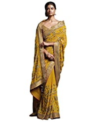 Indian Affluent Yellow Colored Embroidered Shimmer Georgette Saree By Triveni