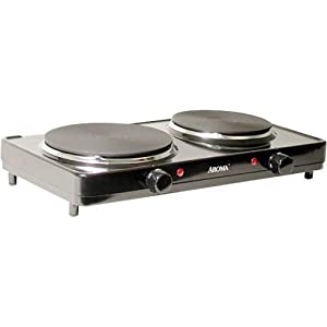 Countertop Electric Stove Top Burner : ... Double Hot Plate, Black: Electric Countertop Burners: Kitchen & Dining