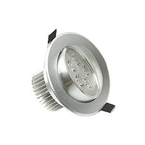 LOHAS LED 5W LED 500LM Cool White Round Recessed Ceiling Cabinet Light Lamp Bulb Downlight 100V-240V+ LED Driver,Pack of 6 Units by GK Lighting
