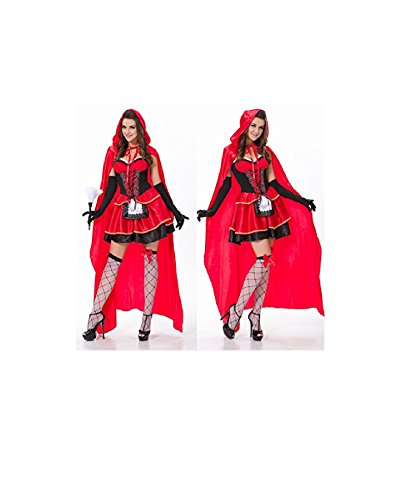 [NEW! HOT Christmas Halloween Costume Adult Cosplay Little Red Riding Hood Fancy Dress (L, Red)] (Wolf Costume Halloween Express)