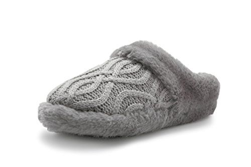 Women Winter Plush Bedroom Slippers Warm Indoor Comfortable Anti-slip Floor House Slippers (M, Gray) (Woman House Slippers compare prices)