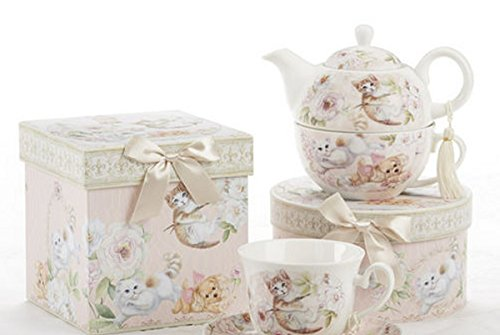 Porcelain Tea for One, Kittens and Puppy Pattern, Arrives in Matching Keepsake Box