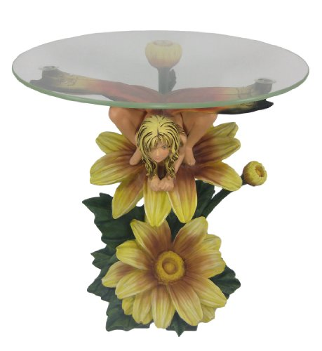 Cheap Butterfly Flower Fairy 23 In Round Glass Top End Table (B0052YRW0K)