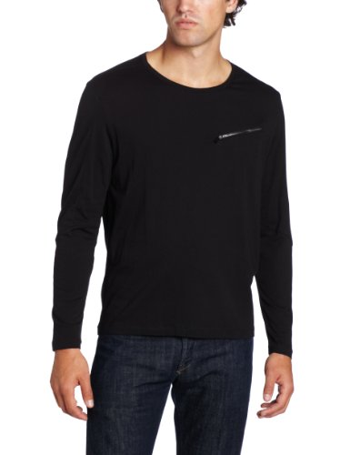 Calvin Klein Sportswear Men's Ultra Slim Fit Long Sleeve Crew Neck With Zip Pocket, Black, X-Large