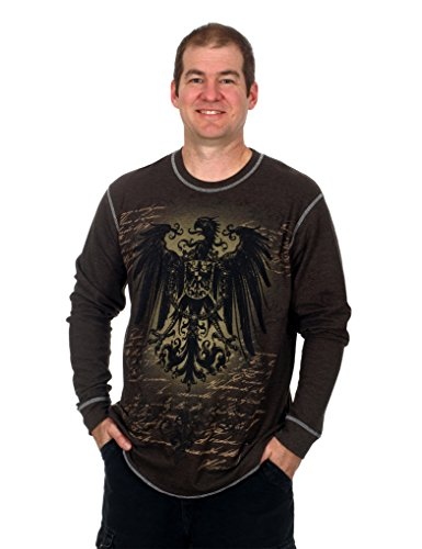 Men's Graphic Print Long Sleeve Thermal Style Shirt (Eagle, X-Large)