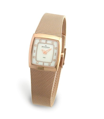 Skagen Ladies Watch 380XSRR1 with Gold Stainless Steel Bracelet and Mother Of Pearl Dial