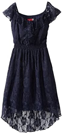 Ruby Rox Big Girls' Short Sleeve Ruffle Front Dress, Navy, Small