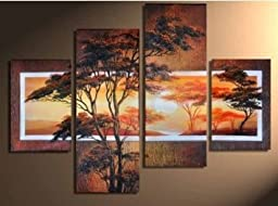 100% Hand-painted Wood Framed Beautiful Woods Sun Tree High Q. Home Decoration Modern Landscape Oil Painting on Canvas 4pcs/set Mixorde