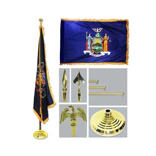 New York 4Ft X 6Ft Flag Telescoping Flagpole Base And Tassel