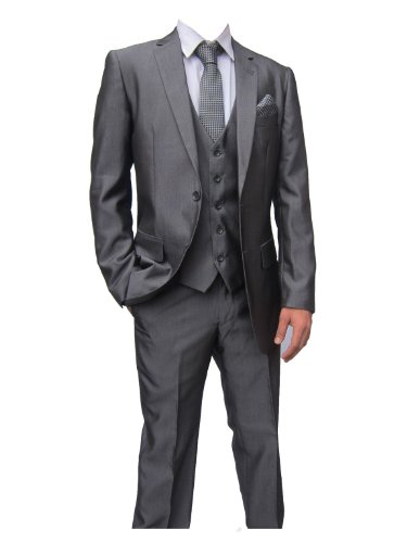 Marc Darcy Rocky Mens Mid Grey 3PC Suit, Jacket 48