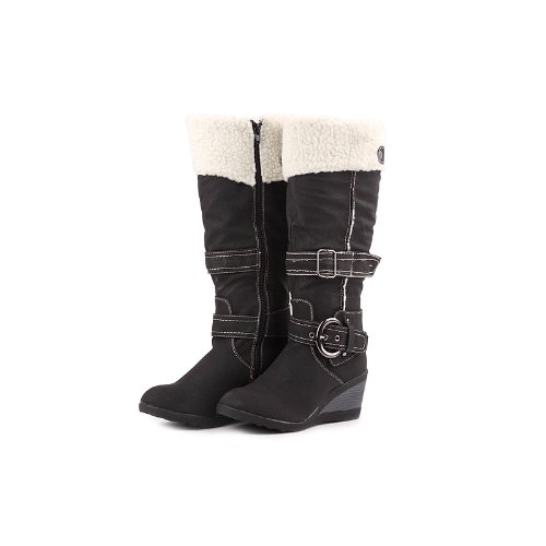 Reneeze K-ADDIE-1 Kids Wedge Mid-Calf Winter Boots- Black