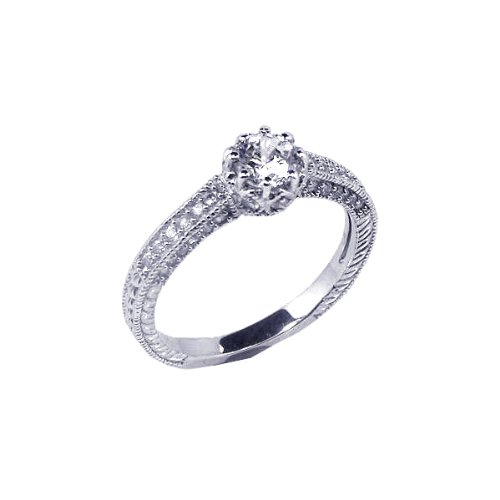 Sterling Silver Round CZ Filigree Engagement Ring Size 7