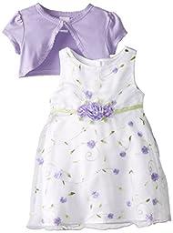 Youngland Baby Girls\' Purple Schiffli Dress with Knit Shrug, White/Purple, 12 Months