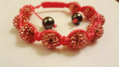 FATHERS day sale special! *80% off with FREE GIFT REAL CORAL PINK Swarovski crystals shamballa Bracelet