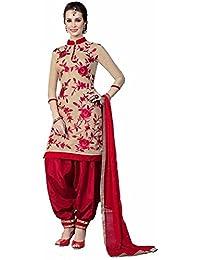 Fashion Dream Women's Faux Cotton Salwar Suit (Sk-Rose Chikoo_Beige_Free Size)