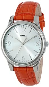 Timex Women's T2P087TN Orange Croco Patterned Leather Strap Watch