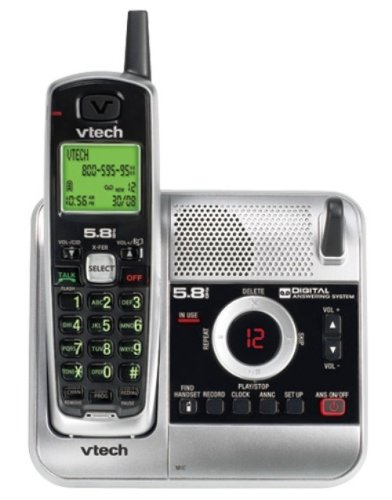 V-Tech CS5121 5.8GHz Cordless Phone with Digital Answering System and Caller ID (Silver/Black)
