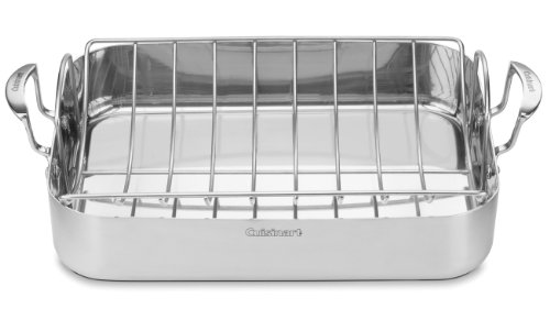 Cuisinart MCP117-16BR MultiClad Pro Stainless 16-Inch Rectangular Roaster with Rack (Baking Pans Cuisinart compare prices)