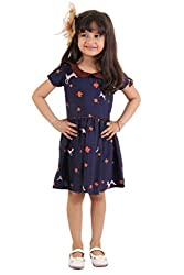 Kids on Board Leaf Print dress with contrast collar - Navy Blue