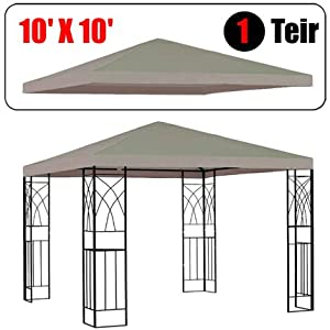 10' X 10' Gazebo Replacement Canopy Top Cover - Beige Color, Single-teir