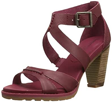 Timberland Earthkeepers Stratham Heights Sandal Ankle Strap, Sandales femme - Rouge (Red), 39 EU (6 UK) (8 US)
