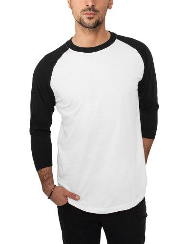 Urban Classics - Bekleidung T-Shirt, Maglia a maniche lunghe Uomo, Multicolore (Wht/blk), Large (Taglia Produttore: Large)