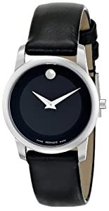 "Movado Women's 0606503 ""Museum"" Stainless Steel and Leather Strap Watch"