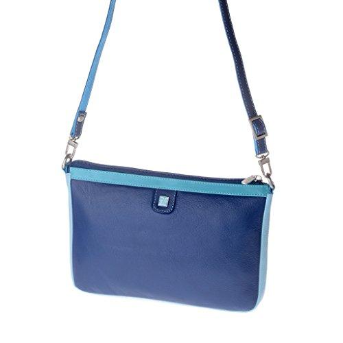 Borsa donna rettangolare a tracolla in pelle multicolor di DUDU Blu
