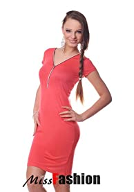 Zip tunic mini dress spring colours elegant ladies fashion (Coral)