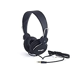 essot HeadJamz002 High Bass Ultra Light Wired Headphones with cable and gold connectors (Black)
