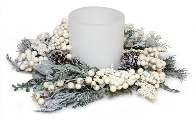 White Winterberry 18-inch Christmas Pillar Candle Rings with Pine Cones Artificially Frosted - Pack of 3 by Melrose