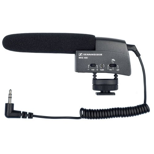 Sennheiser Mke 400 Video Camera Shotgun Microphone + Sennheiser Mzw400 Wind-Muff And Xlr Adapter Kit
