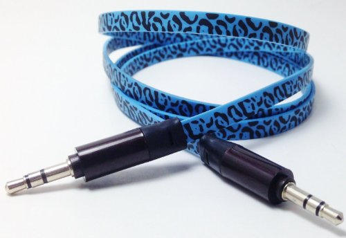 Cablesfrless (Tm) 6Ft 3.5Mm Patterned Tangle Free Auxiliary (Aux) Cable (Leopard Blue)