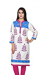 Offwhite and Blue Printed kurti
