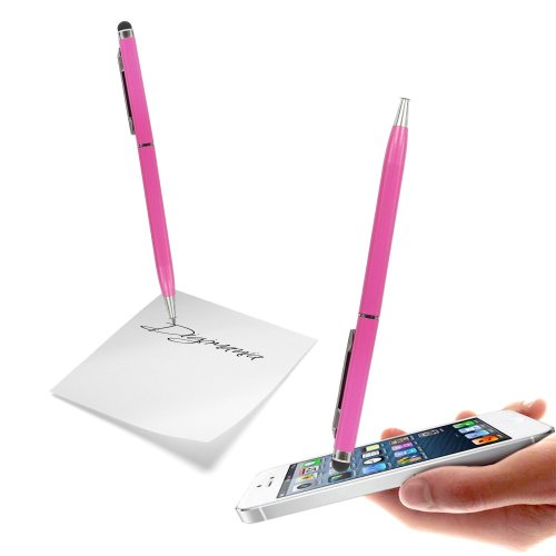 Hot Pink High Sensitive Capacitive Dual Function Touch & Write Stylus Pen For SAMSUNG GALAXY NOTE2/NOTE/S4/S3 S3/MINI/S2/S/NOTE3 Mobile Cellular Phone