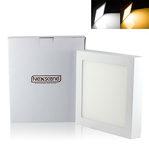 Nexscene 18W 9 Inch 2835 Smd Ultra Thin Energy Saving 6500K-7000K Surface Mounted Square Ceiling Panel Led Recessed Lighting Downlight Lamp (Cool White)