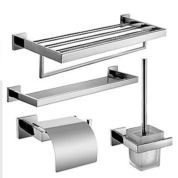 HZZymj-Set di accessori per il bagno / Porta rotolo di carta igienica / Mensola del bagno / Portascopino / Portasciugamani termico / Acciaio