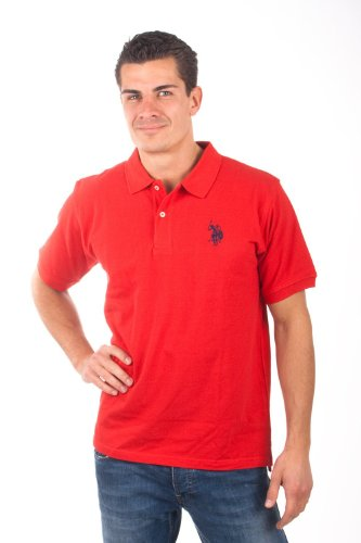 U.S.Polo Assn. men's Poloshirt Pique red USP1006, Größe:S