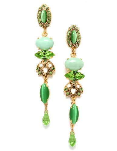 24K Yellow Gold Plated Stunning Dangle Earrings from 'Green' Collection Created by Amaro Jewelry Studio Adorned with Oval Shaped, Marquise and Round Aventurine, Variscite, Turquoise, Green Jade Stones and Swarovski Crystals, Accented with Tear Drop Charms