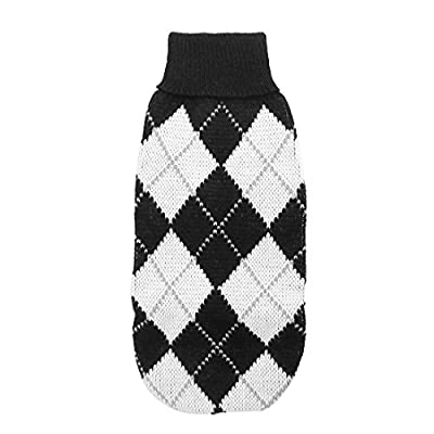 Rhombus Printed Pet Dog Puppy Apparel Sweater XS Black White