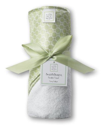 Swaddledesigns Terry Velour Hooded Towel, Mini Mod Circles, Kiwi